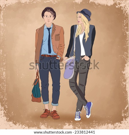 Fashion hand drawn couple man and woman. Hipster. Sketch. - stock vector