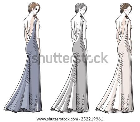 Fashion hand drawn illustration. Vector sketch. Long dress. - stock vector