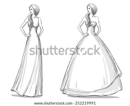 Fashion hand drawn illustration. Vector sketch. Long dress. Bride. - stock vector