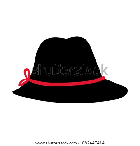 Fashion Hat Womens Black Hat Bow Stock Vector 1082447414 Shutterstock
