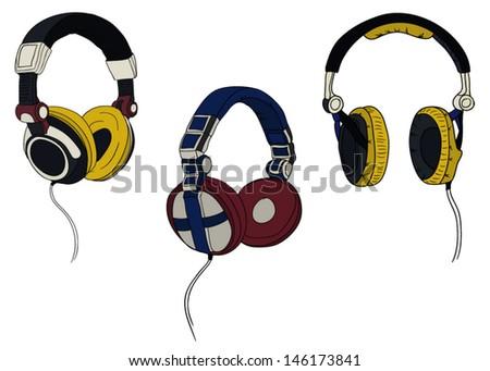 fashion headphones - stock vector