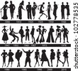 Fashion history, man and woman silhouettes, vector, illustration - stock photo