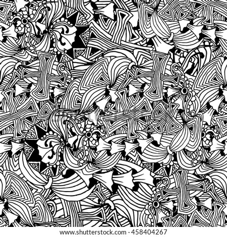 Fashion Horizontal Wallpaper Design With Black And White Stylized Doodle Mushrooms Waves Adult Coloring