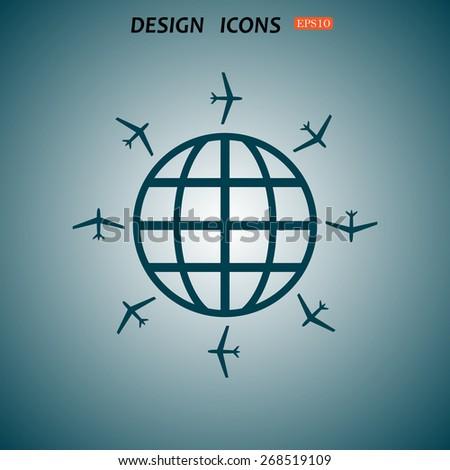 Fashion Icon aircraft around the world. icon. vector design - stock vector