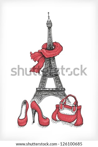 Fashion illustration. Eiffel Tower, shoes and handbag - stock vector