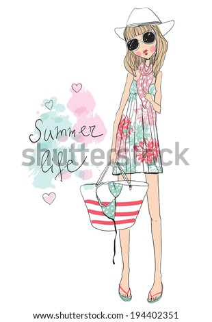 fashion illustration girl - stock vector