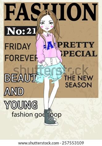 fashion illustration girl. Magazine cover - stock vector