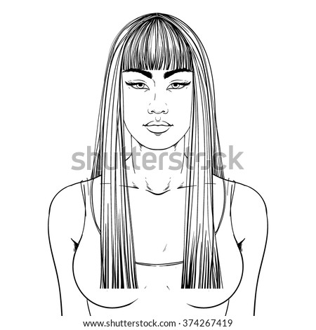 Fashion illustration.  Haircut Long hair + fringe. Hand drawn outline vector art isolated on white. This can be used as a face chart or for hairdressers. Asian type of face. Adult coloring page. - stock vector