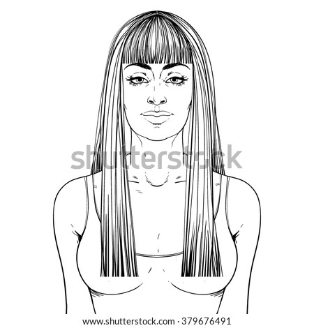 Fashion illustration.  Haircut Long hair + fringe. Hand drawn outline vector art isolated on white. This can be used as a face chart or for hairdressers.  Indian or Arab type of face.  - stock vector