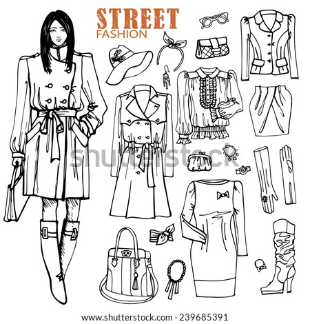 Fashion illustration in sketch style .Clothing set with Hand drawing girl. Lovely girl in coat is walking.Autumn,winter,spring fashion wear. Doodle Vector illustration - stock vector