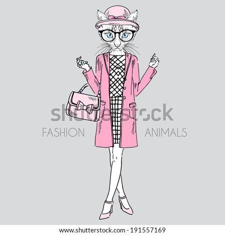 fashion illustration of cat girl dressed up in classy style - stock vector