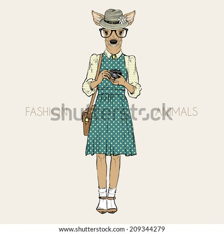 fashion illustration of cute deer hipster with photo camera - stock