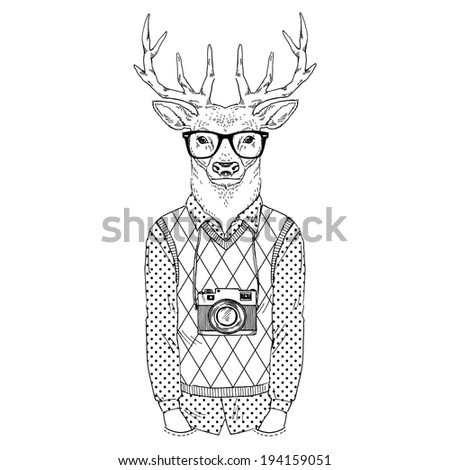 fashion illustration of deer dressed up in hipster style - stock vector