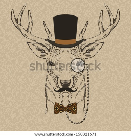 Fashion Illustration of Deer Portrait in Retro Style, Hipster Look, Vector - stock vector