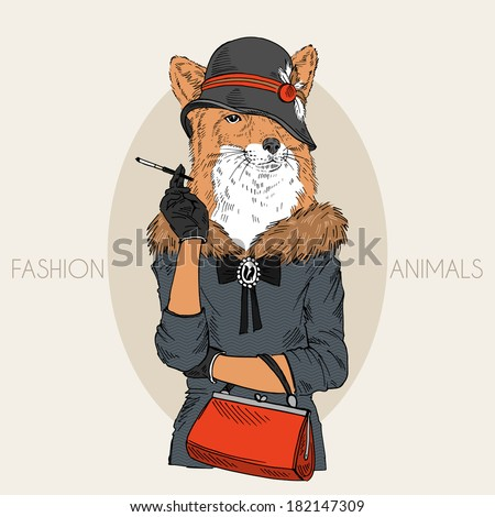 Fashion illustration of fox girl dressed up in retro style - stock vector