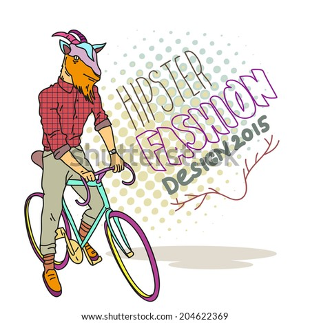 Fashion illustration of goat hipster on a bicycle - stock vector