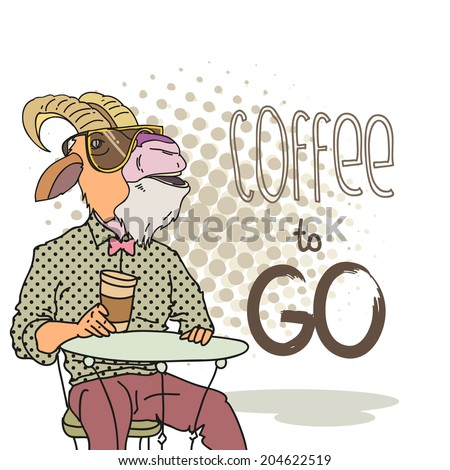 Fashion illustration of goat with cup of coffee  - stock vector