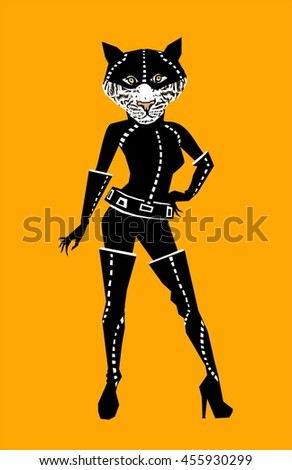 Fashion Illustration of Tiger dressed in black leather cat costume