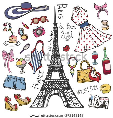 Fashion illustration.Paris France Eiffel tower.Women summer  dress,clothes,accessories,symbol.Hand drawing fashionable Vector  background,summer party ,vacation set.Isolated Sketches,design template - stock vector