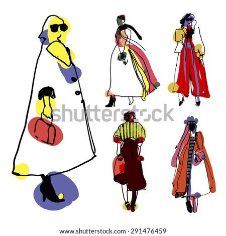 fashion illustration. street style vector illustration - stock vector