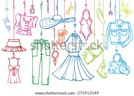Fashion illustration.Vector hand drawn  fashionable women clothes and accessories hanging on rope.Summer dress,vacation wear, linear.Retro Sketches background, scrapbooking design .Horizontal template - stock vector