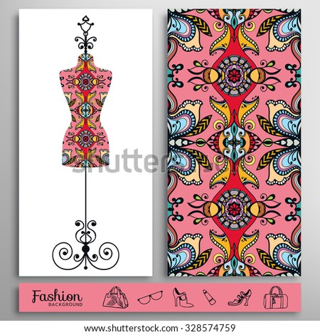 Fashion illustration, vintage tailor's dummy for female body, seamless floral geometric pattern. Handbags, shoes, glasses icons set, isolated elements for print or cards design - stock vector