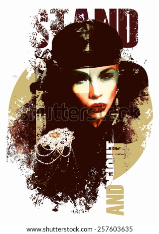 Fashion illustration with a lady in military style drassing - stock vector