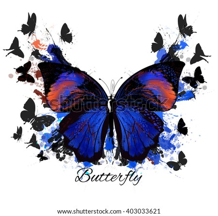 Fashion illustration with beautiful butterfly and ink spots, grunge style - stock vector