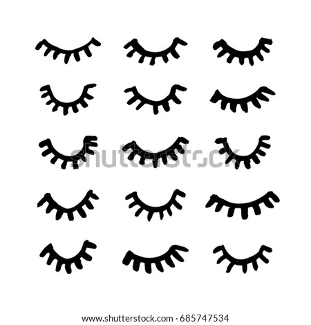 how to draw closed eyes with lashes