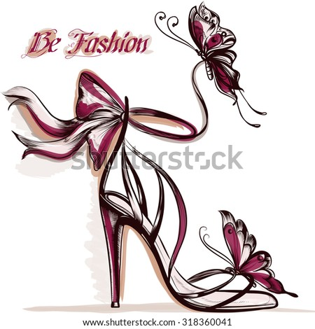 Fashion illustration with elegant  female sandals on a  high heel - stock vector