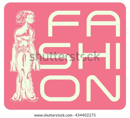 fashion illustration with hand drawn lady isolated on pink - stock vector