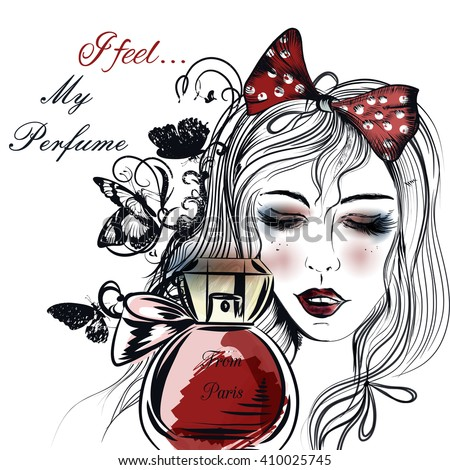 Fashion illustration with hand drawn pretty girl close her eyes and bottle of perfume - stock vector