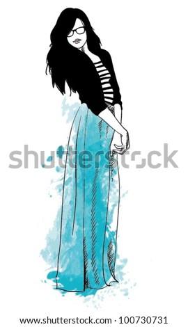 Fashion Illustration. Women in The Maxi Skirt - stock vector