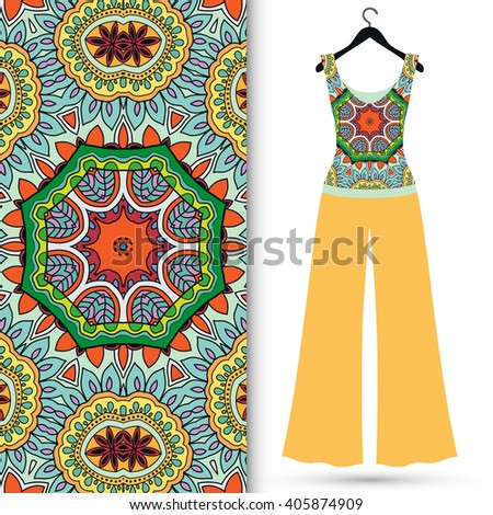 Fashion illustration, women's blouse and trousers on a hanger, hand drawn seamless floral geometric pattern, elements for invitation card design, repeating fabric texture - stock vector