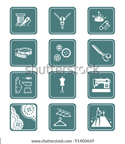Fashion industry tools and objects teal contour icon-set - stock vector
