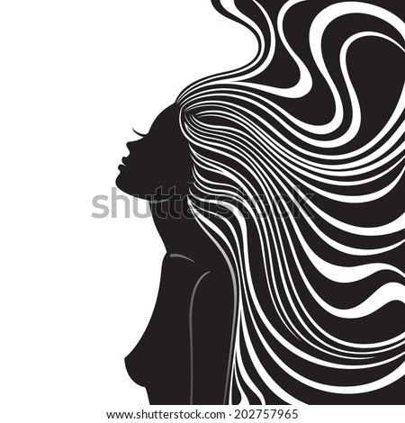 Fashion line art silhouette of a young woman - stock vector