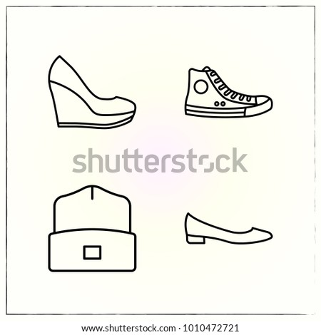 Fashion line icons set winter and shoe