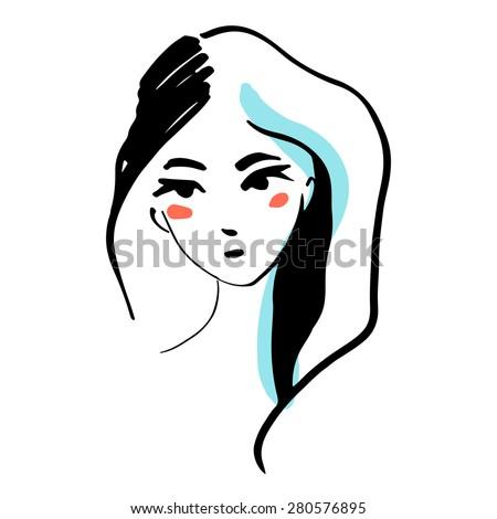 Fashion line woman face  - stock vector