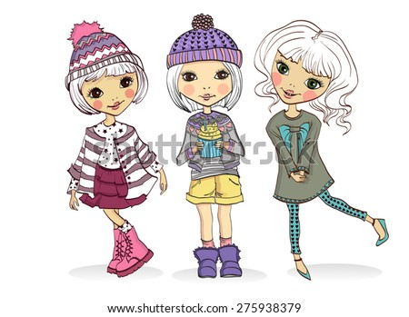 Fashion little girls - stock vector