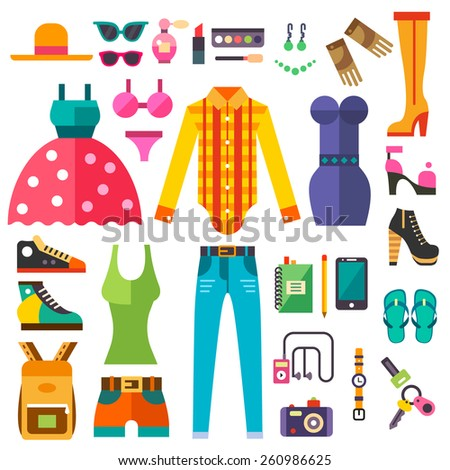 Fashion look. Trends in women clothing and accessories. Fashion and style. Hat, dress, jeans, tops, shorts, backpack, swimsuit, shoes. Vector flat  illustrations - stock vector