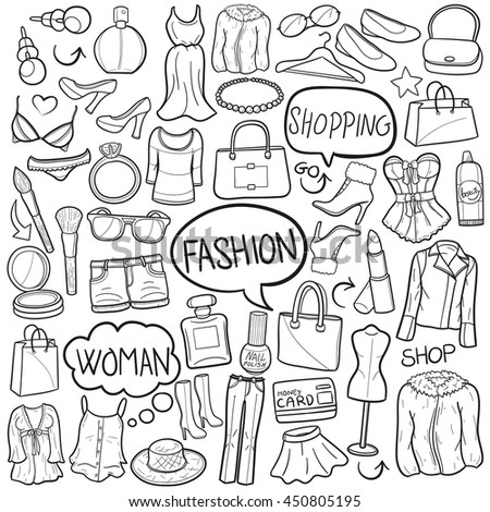 Fashion Luxury Shopping Woman Girl Day Doodle Icons Hand Made - stock vector