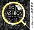 FASHION. Magnifying glass over seamless background with different association terms. Vector illustration. - stock vector