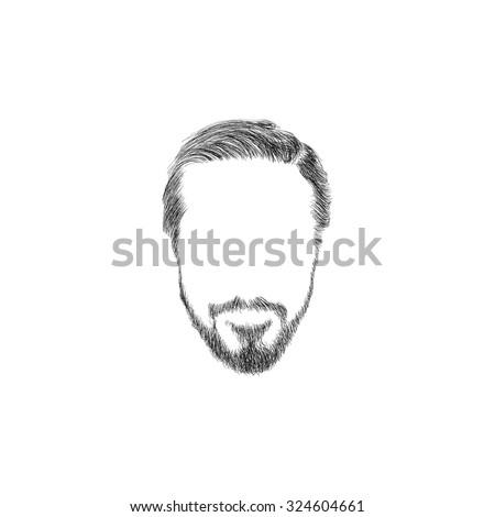 Fashion man hair. Hand drawn vector illustration - stock vector