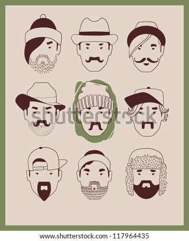 fashion man in hat with beard and mustache collection vector eps 10 - stock vector
