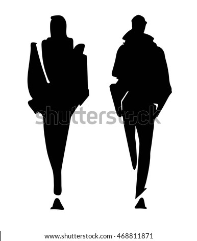 Runway model silhouette vector