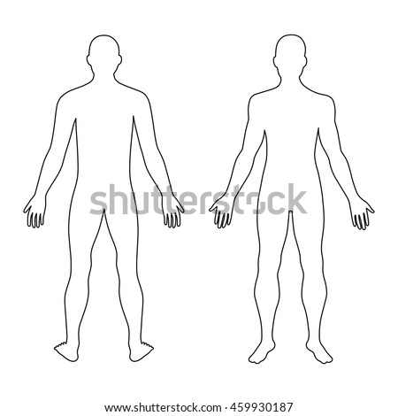 fashion mans outlined template figure silhouette stock