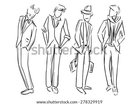 fashion man vector sketch illustration - stock vector