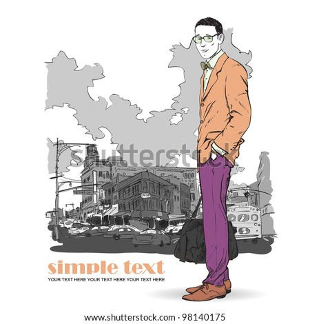 Fashion men with bag  in sketch-style on a city-background. Vector illustration. - stock vector