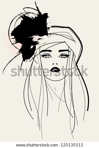 Fashion model face - stock vector