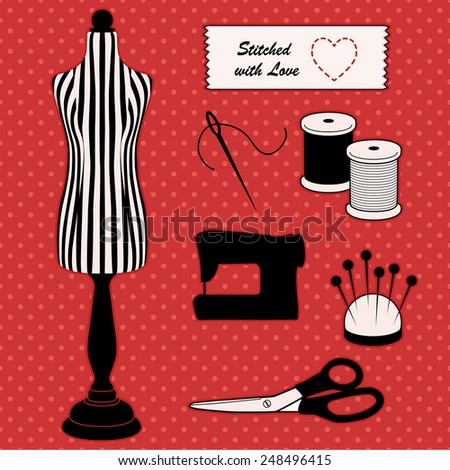 Fashion model mannequin in black and white stripes, Stitched with love heart sewing label, needle, thread, pincushion, scissors, sewing machine. DIY tools. Red polka dot background. EPS8 compatible. - stock vector